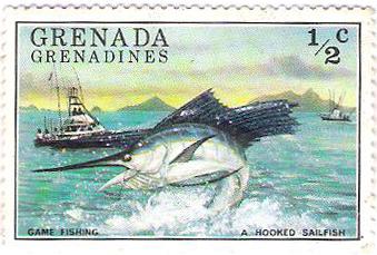 Grenada postage stamp 1976 sportfishing